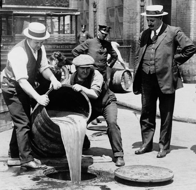 Booze being destroyed in the 1920's almost like on the island