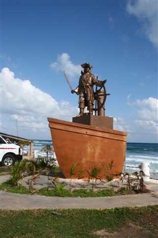 Cozumel pirate statue of Johnny Depp
